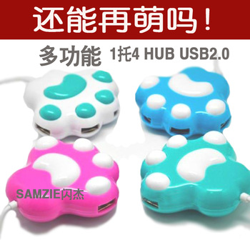 Sole usb points line device cat bear paw usb hub usb2.0 line