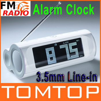 LCD Display FM Radio Speaker Alarm Clock 3.5mm Line-in White Music Player Free Shipping wholesale