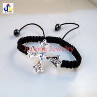 Free shipping.Wholesale silver tone pave crystal rhinestone cross shamballa bracelet.fashion jewelry.blue.3.5 cm x 2.9cm CB0087