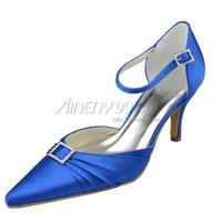 Aineny99 New Custom Made Blue Pointy Toe Stiletto Heel Rhinestone Satin Wedding Bridal Evening Party Shoes Free Shipping L300