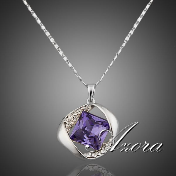 AZORA Platinum Plated Stellux Austrian Crystals Amethyst Necklace for Valentine s Day Gift of Love TN0012