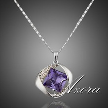 Platinum Plated SWA ELEMENTS Austrian Crystals Amethyst Necklace for Valentine's Day Gift of Love FREE SHIPPING!(Azora TN0012)