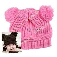 Fashion Baby Cap,  Double Yarn Ball WARM Winter Hat, Knitted Girls Single Ayer Baby Hat  07365