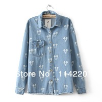 New Spring&Autunm Fashion Women Brand Jeans Shirt Lady Long Sleeve Mouse Printed Blouse Tops