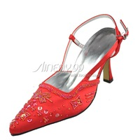 Aineny99 Red Pointy Toe Spike Heel Custom Made Beading Buckle Strap Satin Wedding Bridal Evening Party Shoes Free Shipping L006