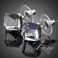 Platinum Plated Stellux Austrian Crystal Blue Cube Stud Earring FREE SHIPPING!(Azora TE0021)