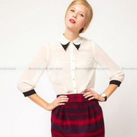 Shanghaimagicbox Women Fashion Vintage White Collar Splice Chiffon Shirt Blouse Top WSHT365