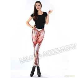 Fashionable 1piece/lot Women Sexy Muscle Print Leggings Elasticity Warm Blended Ankle Length Tight Stretch Pants 650531(China (Mainland))