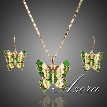 Азора 18 К настоящее позолоченные Stellux австрийский кристалл бабочка серьги и ожерелье комплект TG0011