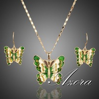 18K Real Gold Plated SWA ELEMENTS Austrian Crystal Butterfly Drop Earrings and Pendant Necklace Set FREE SHIPPING!(Azora TG0011)