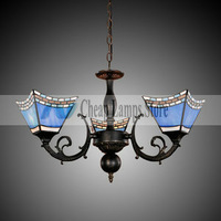 Freeshipping 40W Antique Inspired Chandelier with 3 Lights-Blue Lampshade for Living Room, Dining Room in Traditional/Classic