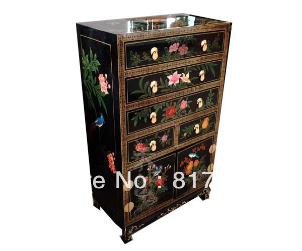 Unique chinese traditional flower painting wood wine chest as dining room furniture(China (Mainland))