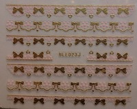 12 Designs Fashion 3D Nail Art Lace Stickers Decals in Pink Gold New Nail Styles Wholesale Free Shipping