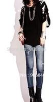 New Fashion Knitting K286 printing styles faux denim jeans women skinny leggings pencil slim elastic stretchy tights pants