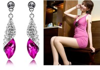 free shipping! charm water drop crystal earrings  GJW-116