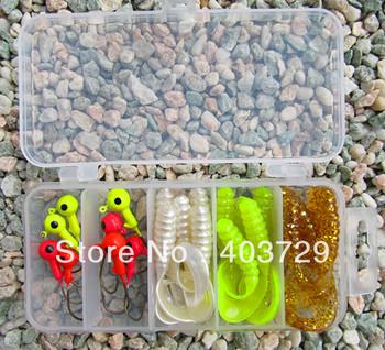Free shipping 10pcs Jig head fihing hook+20pcs soft fishing lure+1pc Plastic fishing tackle box good quality