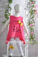 5pcs/lot 2013 children's  Summer clothing kids special design cartoon hello kitty tops+ pants girls cotton 2 pcs set 2 colors