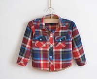 gril or boy shirt, Plaid shirt inclusive side delicate work grinding wool fabrics, children's shirts