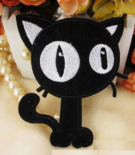 Черная кошка-панк/готик вышитые аппликации железа на