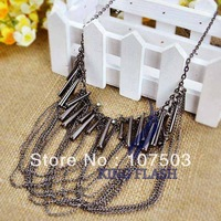 Free Shipping Elegant Drops Of Water Drops Beads Crystal Multilayer Retro Necklace 8457