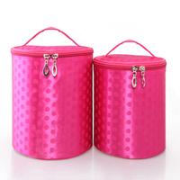 Fog flower big dot silk glossy professional cosmetic bag cylindrical cosmetic bag travel storage bag