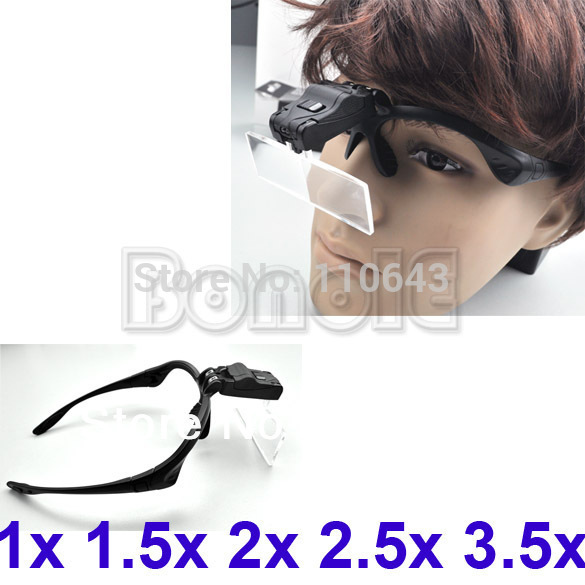 Clip On 1x /1.5x /2x /2.5x /3.5x Eyeglasses Magnifier With 2-LED Glass Lens Magnifying Free Shipping 2524(China (Mainland))