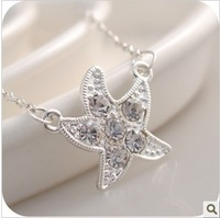 Free Shipping Korean Jewelry Wild Full Drill Starfish Necklace 2013 New Stars Sholesale