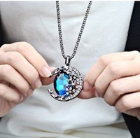 Fashion Gem moon bend long necklace Free shipping