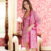LZ summer women's sleepwear polyester faux silk nightgown robe twinset lounge pink leopard femme night sleep clothing set M L XL