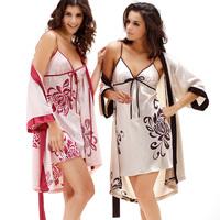 LZ nightwear summer silk women sleepwear lounge flower print sexy nightgown robe twinset sleep clothing set plus size M L XL