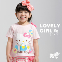 5set/lot new2014 baby girl clothing set ,baby&kids hello kitty suits (t shirts+ skirt) fashion style children clothing sets