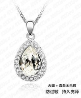 water drop shape fashion crystal necklace/ white gold plated necklace party,engagement