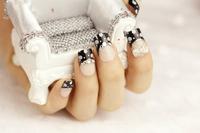 Free shipping,wedding/party needed,bride/bridesmaid Rhinestone 3D false/art  nails/tips 24pcs/set with 2g glue
