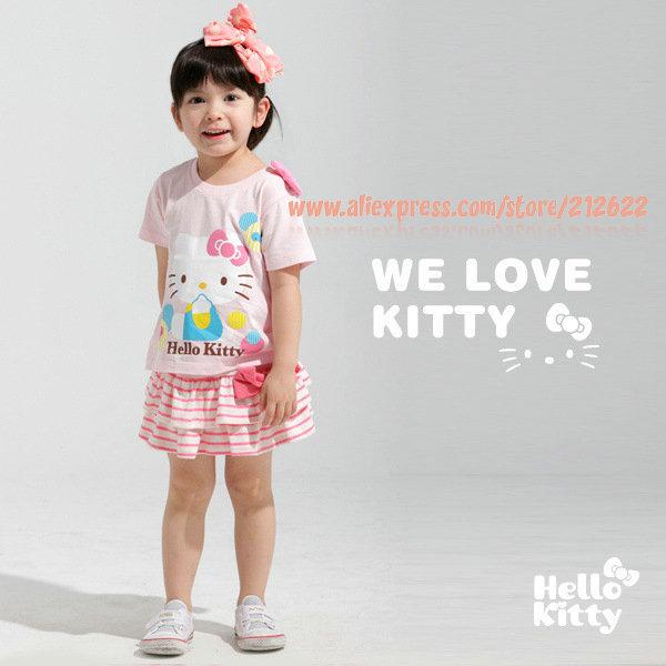 baby clothing set 5 sets/lot Free shipping newest kitty pink cute casual summer set (t-shirt+striped skirt) kids garment(China (Mainland))
