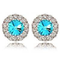 Fast Free Shipping by Swiss Or FiJi Post high quality gorgeous bloom Crystal stud earring Pink+blue+red