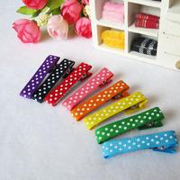 Baby Spot Printing Ribbon Hair Clips , Head  Wear Hair accessories Simple Hairclips