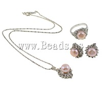 Free Shipping wholesale Natural Cultured Freshwater Pearl Jewelry Sets, necklace & ring & earrings, pink