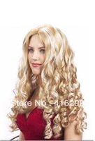 hot new fashion halloween/party Adult Festival cosplay full wig lady's women's Naomi long wavy blonde hair vogue curly wigs