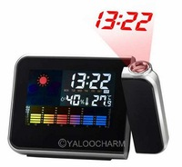 1pcs Hot Sale Digital LCD Screen LED Projector Alarm Clock Weather Station Forecast Calendar clock 80320 Free Shipping