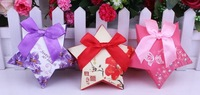 300pcs - DHL Free Shipping! Wholesale - European Creative Wedding Candy Box Pentagram With Bowknot Party Favor Boxes, 3 Colors