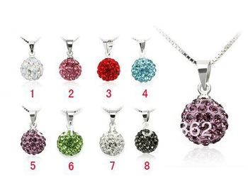 Free shipping 10pcs Mix Color 10mm Shamballa Disco Pave Crystal Ball Pendant+ Necklace