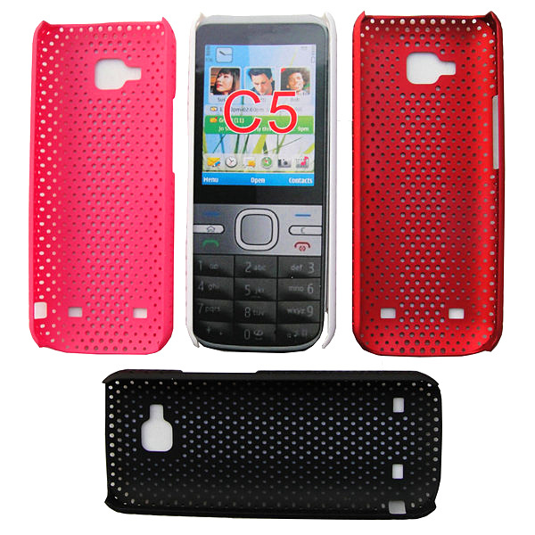 Hot sale 20pcs/lot hard mesh hole rubber case cover for Nokia C5 C5-00 Good quality and fashion style free shipping(China (Mainland))