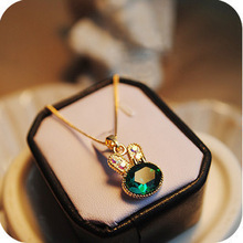 hot selling 2014 wholesale lots  jewelry  Emerald Necklace rabbit sweater chain with chain crystal Pendants 0020