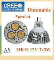 5X High Power Dimmable MR16 / E27 /GU10 /E14  /GU5.3  3x3W 9W Spotlight Lamp CREE LED AC&DC 12V Light Bulb Downlight