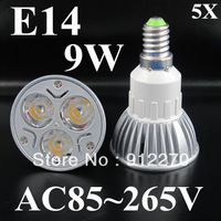 Wholesale - 5X 9W E14 Dimmable AC 85-265V 110V OR 220V  3x3W LED Spot Light Lamp Bulb led lighting  led bulbs free shipping