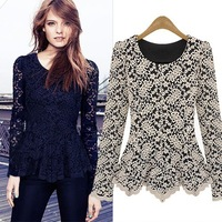 Women Lace Sheer Long Sleeve Peplum Jumper Top Blouse Black&White ,S,M,L,XL,