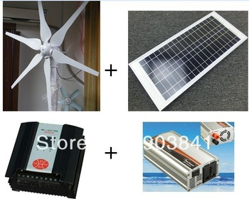 320w hybrid system,300w wind turbine+20w solar panel+400w hybrid controller+600w inverter,high quality,low price,free shipping