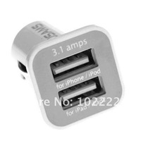 Dual USB Port Micro Mini Car Auto Charger 3.1A for iPhone 4G 4S iPod iPad 2 3 Samsung i9100 i9300, 100pcs/lot