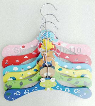6pcs six color Cute Kids children cartoon Wooden clothes hanger coat hanger