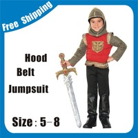 boys medieval roman soldier warrior gladiator Halloween Costume +hood Fancy Dress Up for  Kids/Children